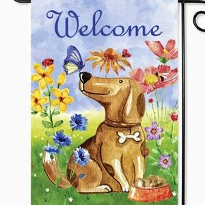 Garden Flag- New- Cute Welcome Spring Dog